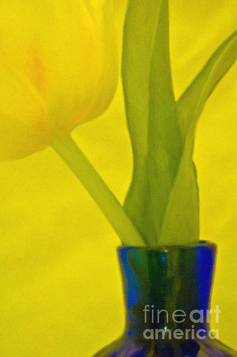 Tulip In Blue Vase Print by Kathleen K Parker