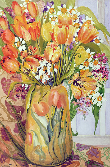 Tulips And Narcissi In An Art Nouveau Vase Print by Joan Thewsey