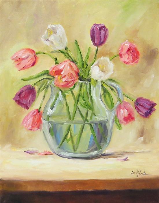 Jean Costa - Tulips in Glass Pitcher
