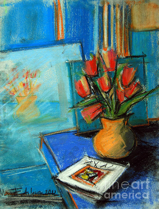 Tulips In The Mirror Print by Mona Edulesco