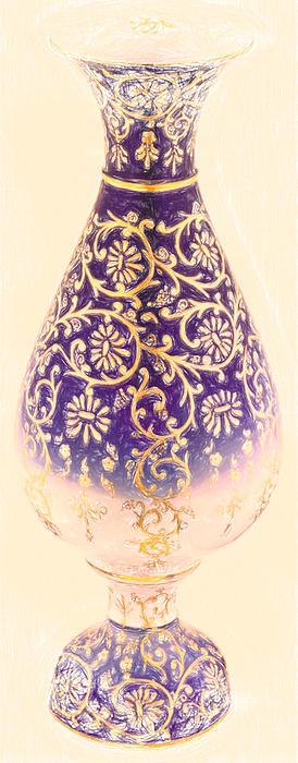 Turkish Vase 1 Crayon Print by MotionAge Designs