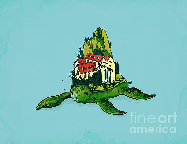 Turtle Fort Print by Budi Satria Kwan