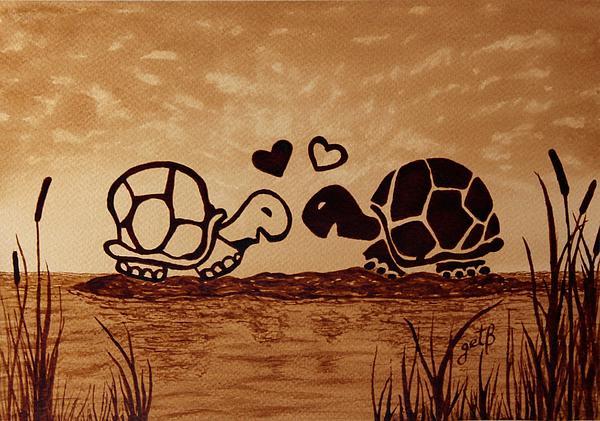 Georgeta  Blanaru - Turtles Love coffee painting