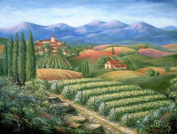 Tuscan Vineyard And Village Print by Marilyn Dunlap