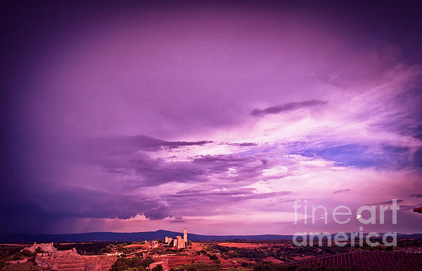 Tuscania Village With Approaching Storm  Italy Print by Silvia Ganora