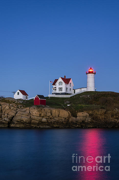 Twilight Nubble Lighthouse Print by John Greim