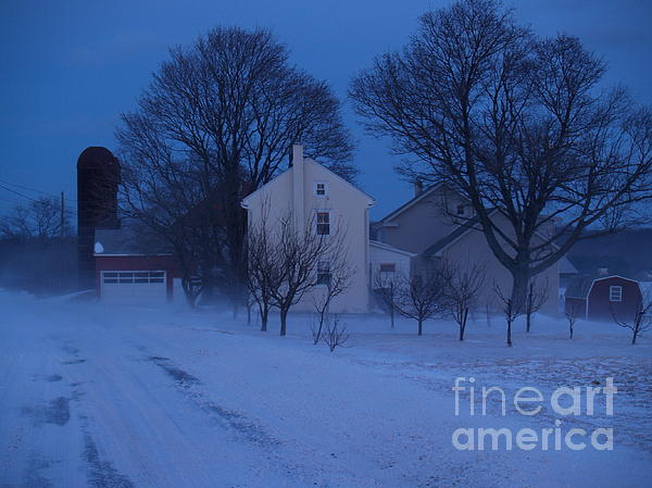 Twilight Snow On Bauman Road Print by Anna Lisa Yoder
