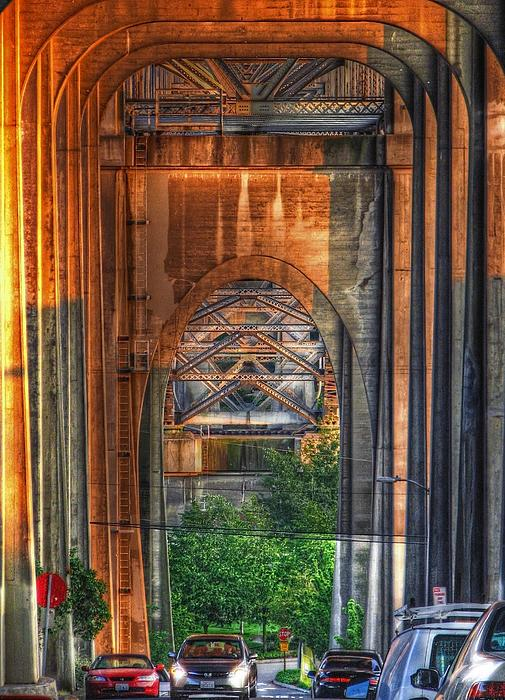 Twilight Under A Fremont Bridge Print by Chris Anderson