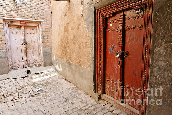 Two Doors In The Old Town Of Kashgar Print by Robert Preston
