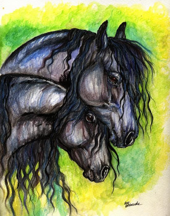 Two Fresian Horses Print by Angel  Tarantella