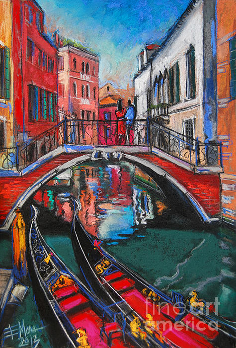 Two Gondolas In Venice Print by Mona Edulesco