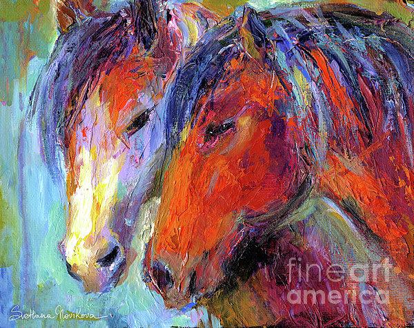 Two Mustang Horses Painting Print by Svetlana Novikova