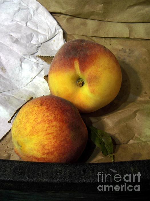 Two Peaches Print by Miriam Danar