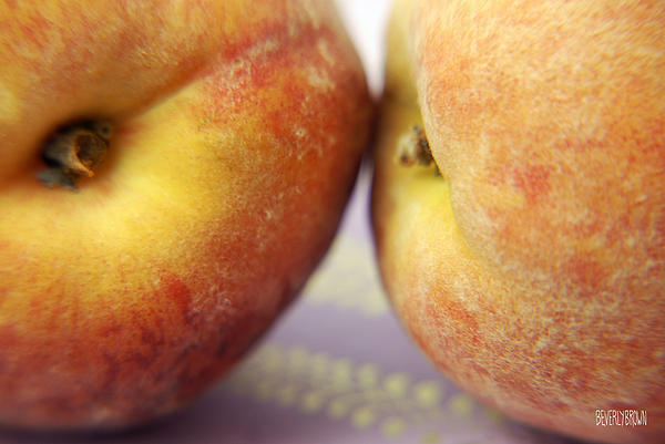 Two Peaches On A Purple Background Print by Beverly Brown Prints