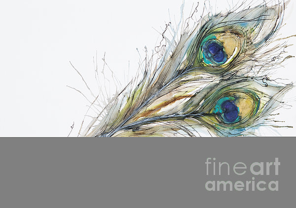 Two Peacock Feathers Print by Tara Thelen