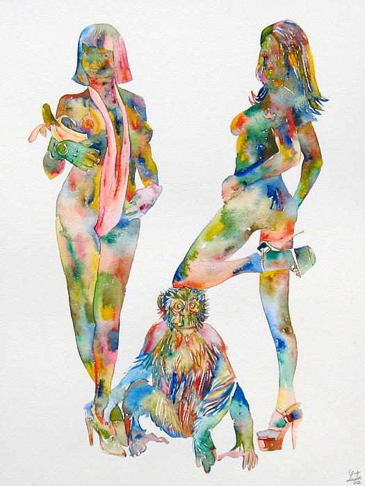 Two Psychedelic Girls With Chimp And Banana Portrait Print by Fabrizio Cassetta
