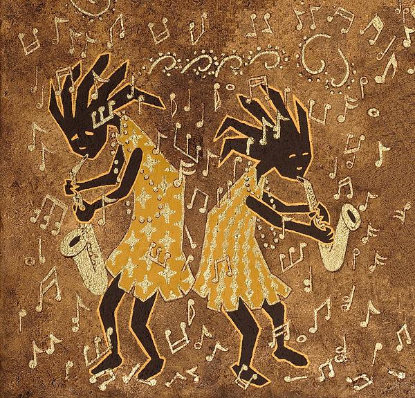 Two Sax Players Print by Katherine Young-Beck