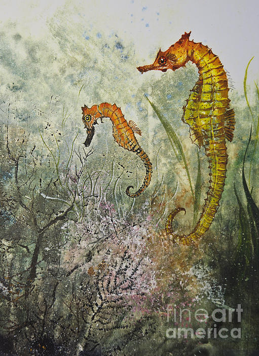 Two Sea Horses Print by Nancy Gorr