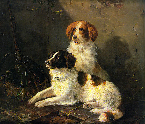 Two Spaniels Waiting For The Hunt Print by Henriette Ronner Knip
