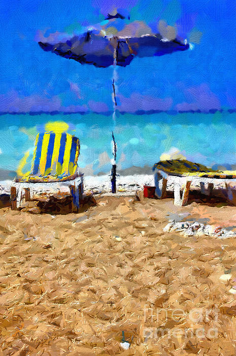 Two Sun-chairs And Umbrella Painting Print by Magomed Magomedagaev