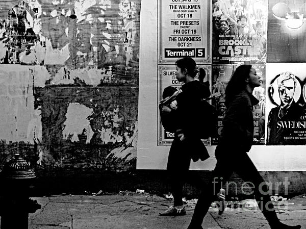Two Women Walking Print by Miriam Danar