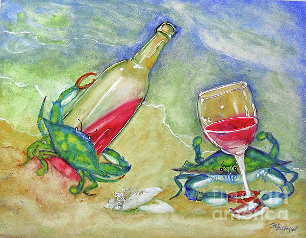 Tybee Blue Crabs Tipsy Print by Doris Blessington