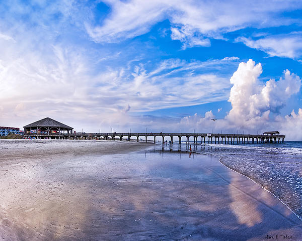 Tybee Island Pier On A Beautiful Afternoon Print by Mark Tisdale