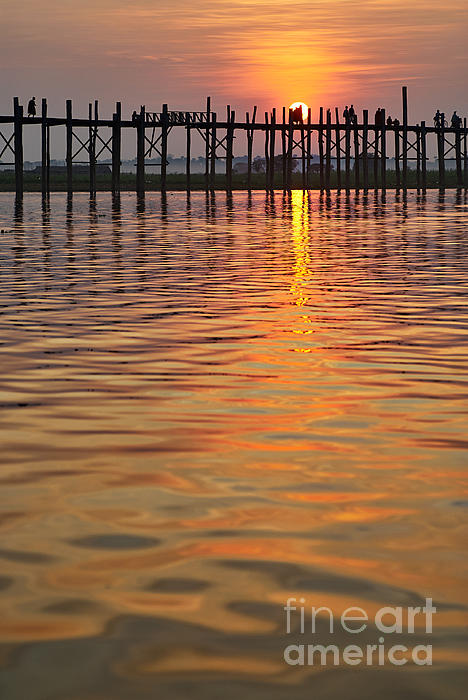 U Bein Bridge In Mandalay Print by Juergen Ritterbach
