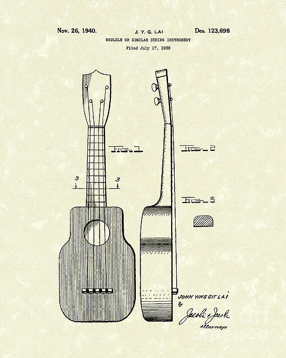 Ukelele 1940 Patent Art Print by Prior Art Design