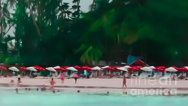 Umbrella Beach Print by Perry Webster