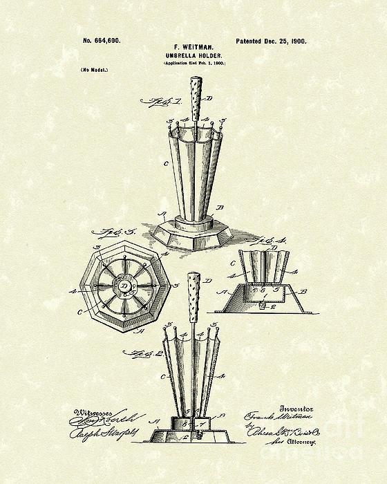 Umbrella Holder 1900 Patent Art Print by Prior Art Design