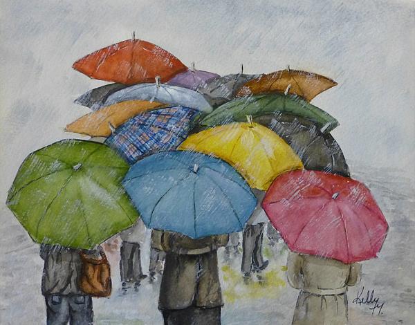 Umbrella Huddle Print by Kelly Mills