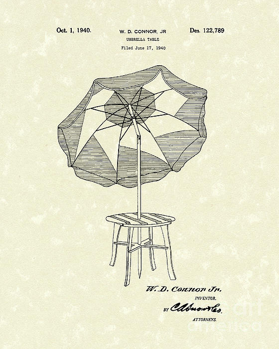 Umbrella Table 1940 Patent Art Print by Prior Art Design