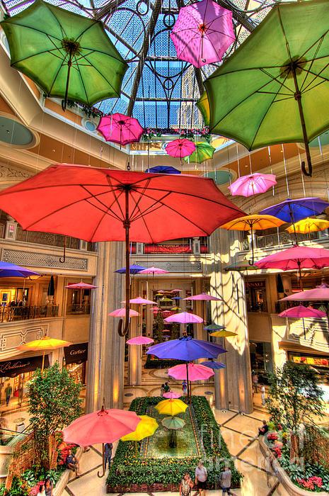Umbrellas At Palazzo Shops Print by Amy Cicconi
