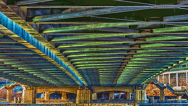 Under Hennepin Avenue Bridge Print by Bill Tiepelman