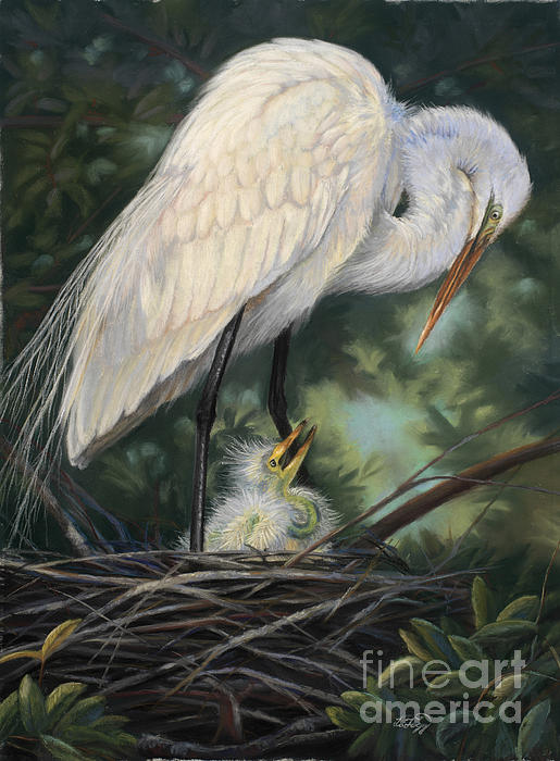 Under Moms Watchful Eye Print by Deb LaFogg-Docherty