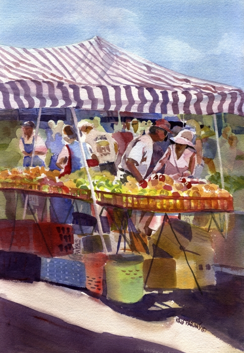 Under The Awning Print by Kris Parins