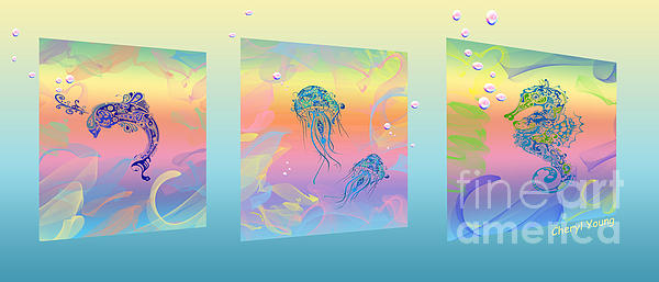 Under The Sea Triptych Print by Cheryl Young