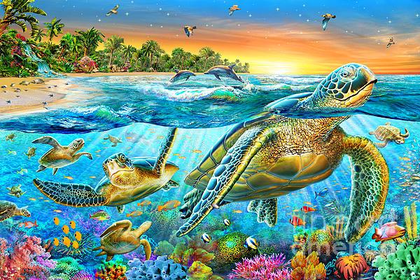 Underwater Turtles Print by Adrian Chesterman