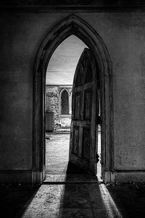 Unhinged - Old Gothic Door In An Abandoned Castle Print by Gary Heller