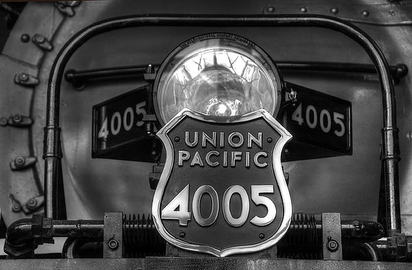 Ken Smith - Union Pacific Big Boy Headlight View 3 Black and White