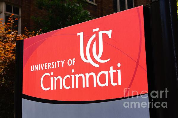 University Of Cincinnati Sign Print by Paul Velgos