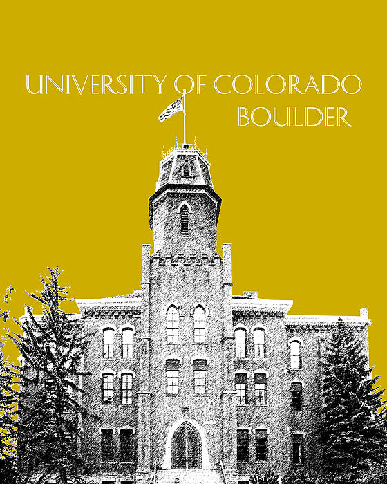 University Of Colorado Boulder - Gold Print by DB Artist