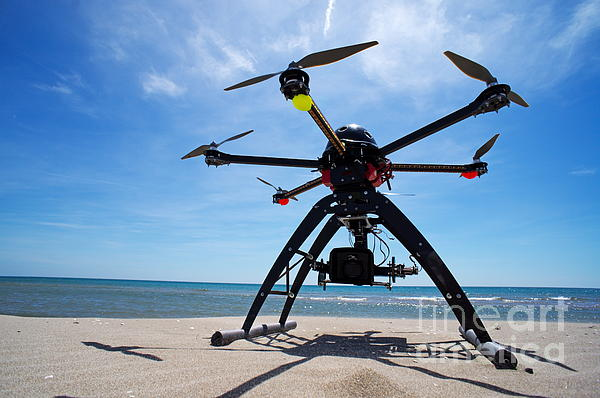 Unmanned Aerial Vehicle On Beach Print by Sami Sarkis
