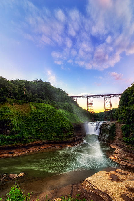 Upper Falls At Letchworth Print by Mark Papke