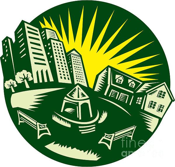 Urban Building Park House Woodcut Print by Aloysius Patrimonio