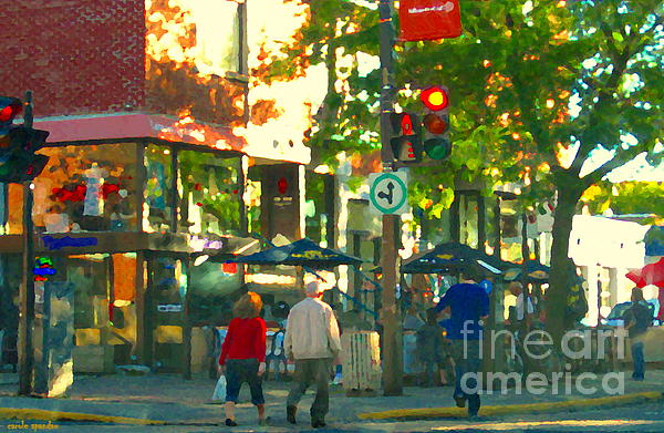 Urban Explorers Couple Walking Downtown Streets Of Montreal Summer Scenes Carole Spandau Print by Carole Spandau