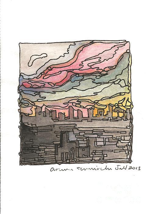 Urban Sunset Print by Aruna Samivelu
