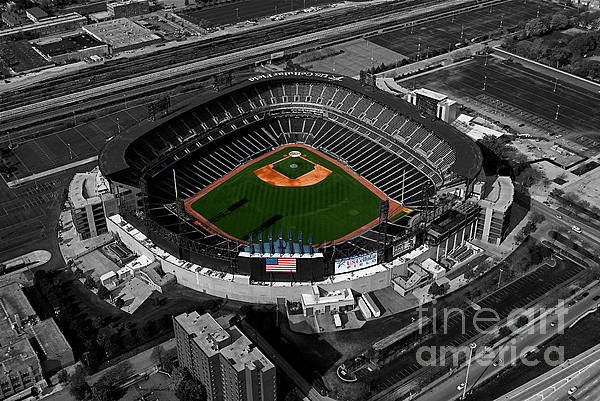 Us Cellular Field Chicago Sports 08 Selective Coloring Digital Art Print by Thomas Woolworth