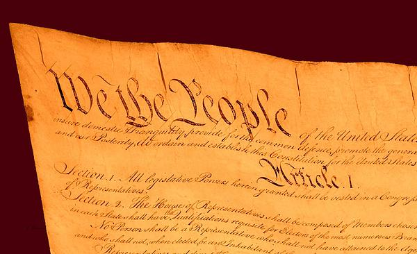 Us Constitution Closest Closeup Red Brown Background Print by L Brown